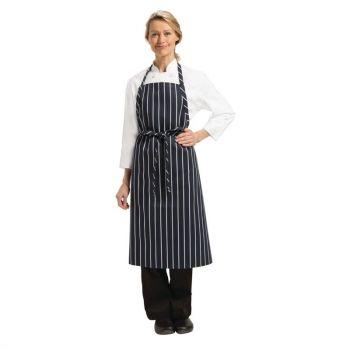 Tablier bavette tissé Chef Works Premium rayures bleue marine et blanches