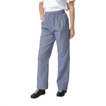 Pantalon de cuisine mixte Whites Vegas petits carreaux bleus et blancs L