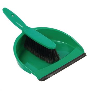 Set balayette à poils doux et pelle Jantex vert