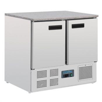 Table réfrigérée positive plan de travail en marbre Polar Série G 2 portes 240L
