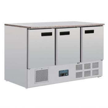 Table réfrigérée positive plan de travail en marbre Polar Série G 3 portes 368L