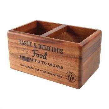 Rangement de table en acacia avec ardoise T&G Woodware Food Glorious Food