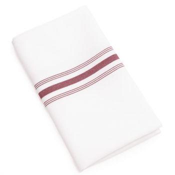 Serviettes de table bistro avec rayures bordeaux x10