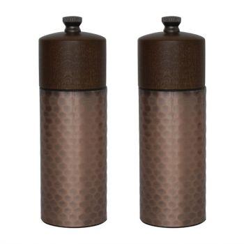 Set moulins à sel et poivre en bois et cuivre Olympia 150mm