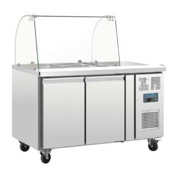 Comptoir de préparation réfrigéré GN avec pare-haleine Polar Série U 2 portes