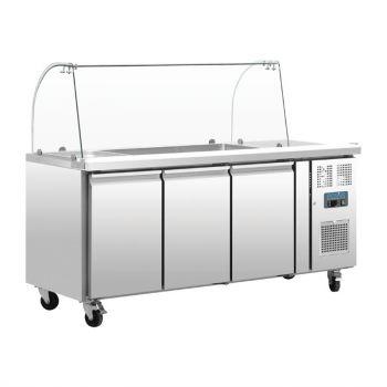 Comptoir de préparation réfrigéré GN avec pare-haleine Polar Série U 3 portes