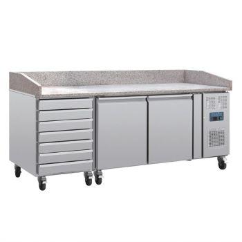 Comptoir à pizza dessus marbre 2 portes 7 tiroirs à pâtons compresseur latéral Polar Série U