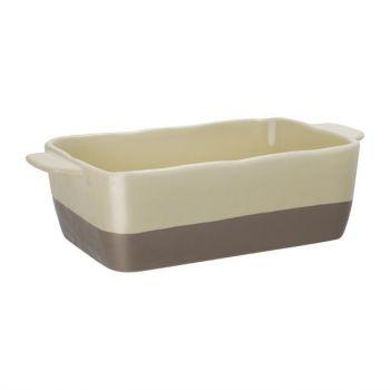 Plat à rôtir rectangulaire crème et taupe Olympia 2;5L
