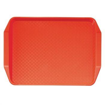 Plateau rectangulaire avec poignées en polypropylène Fast Food Cambro rouge 43 cm