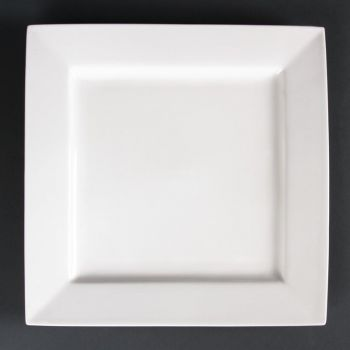 Assiettes carrées Lumina Fine China 265mm