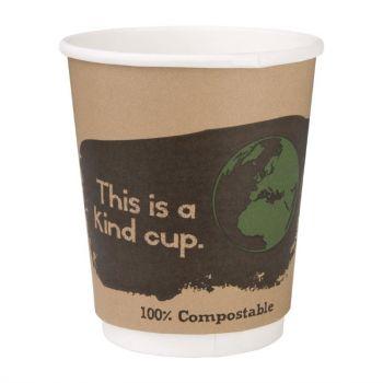 Gobelets boissons chaudes compostables en PLA double paroi Fiesta Green 227ml (x25)
