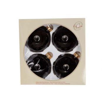 Cosy @ Home Boule Verre Set4 Noir Brillant 8cm