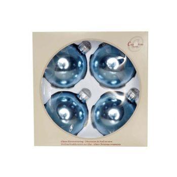 Cosy @ Home Boule Verre Set4 Bleu Clair Perle 8cm