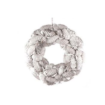 Cosy @ Home Couronne Pommes Pin White Wash D24x7cm