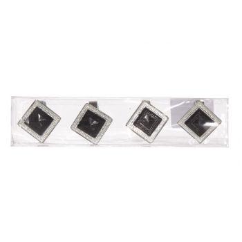 Cosy @ Home Rond De Serviet Set4 Noir 3x3.5x3.5cm