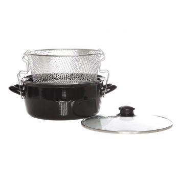 Cosy & Trendy For Professionals Friteuse D24cm Noir 2poign.-couv. Verre-