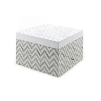 Cosy @ Home Boite Bijoux Zigzag Gris Blanc 20x21x1