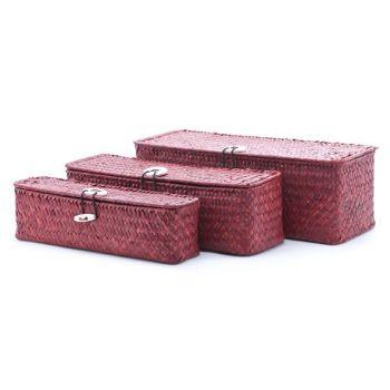 Cosy & Trendy Set3 Panier Paille Rect. Rouge