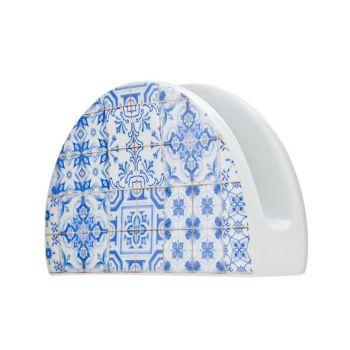 Cosy & Trendy Tile Blue Porte-serviettes 14.5xh9cm