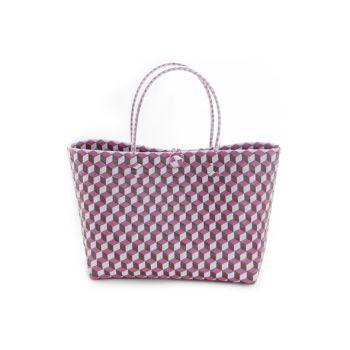 Cosy @ Home Sac Trendy Blanc Rose Violet 36x15x50cm