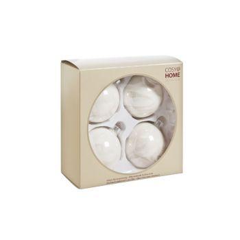Cosy @ Home Boule Verre 4pcs 8cm Blanc Perle