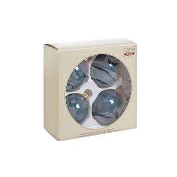 Cosy @ Home Boule Verre 4pcs Bleu Petrol Perle D8cm
