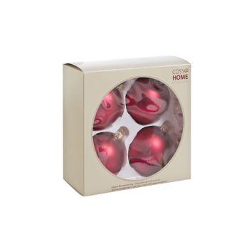 Cosy @ Home Boule Verre 4pcs Rouge Roses Mat D8cm