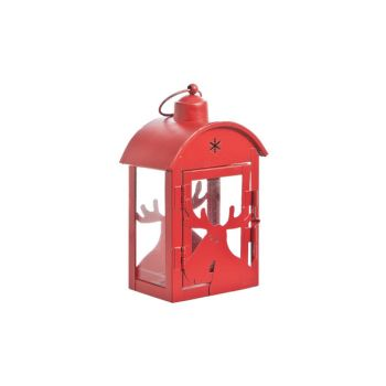 Cosy @ Home Bougeoir Lanterne Rouge Metale 11x7x18cm