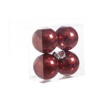 Cosy @ Home Boule Noel Set4 Twinkle Rouge D8cm
