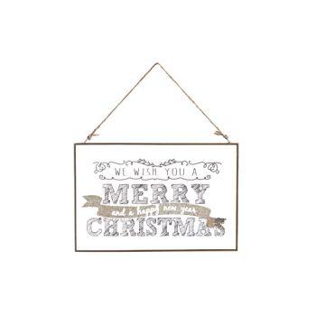 Cosy @ Home Plaque Verre Merry Christmas 30x0.5x20cm