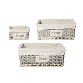 Cosy @ Home Panier Paille Gris-blanc -rectangle S5