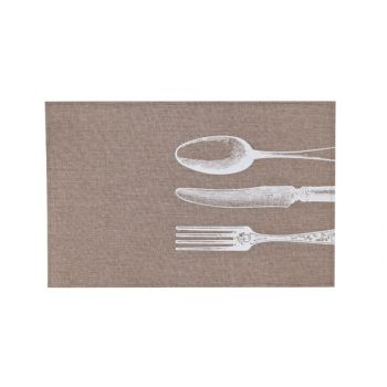 Cosy & Trendy Placemat Poly-lin Brun- Print Blanc