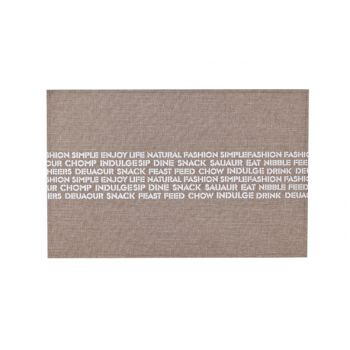 Cosy & Trendy Placemat Poly-lin Brun-print Texte Blanc