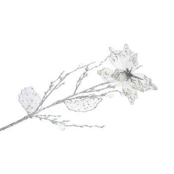 Cosy @ Home Poinsettia Sur Tige 76cm Argent Brillant