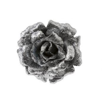 Cosy @ Home Rose Sur Clip Scintill. Argent D12cm