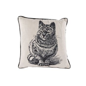 Cosy @ Home Coussin Lin Chat Noir 34x34cm