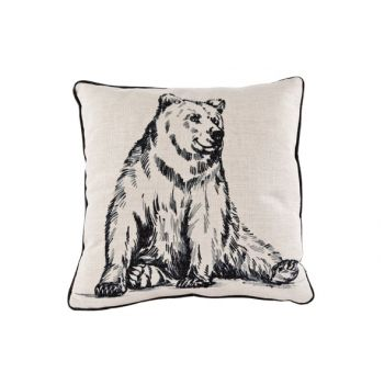 Cosy @ Home Coussin Lin Ours Noir 34x34cm