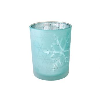 Cosy @ Home Bougeoir Flocons Bleu Glace D10x12cm