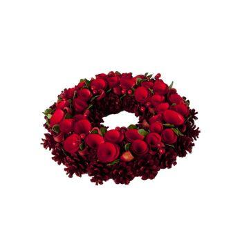 Cosy @ Home Couronne Fleur Rouge Bois D34xh9cm