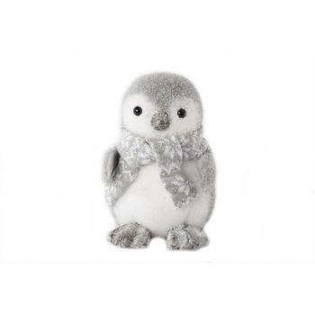 Cosy @ Home Pinguin Echarpe Flocking Gris 16x17x20cm