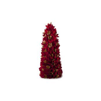 Cosy @ Home Cone Fleurs Bois Vert Rouge 20x20x48cm