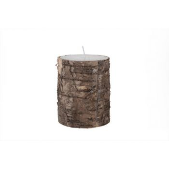 Cosy @ Home Bougie Cyl.blanc Ecorce Brun D7.5xh10cm
