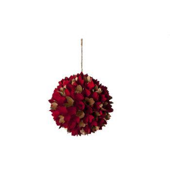 Cosy @ Home Balle Fleurs Bois Dore Rouge H22x22cm