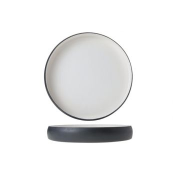 Cosy & Trendy Assiette Alu 29xh4cm Blanc Email Gris