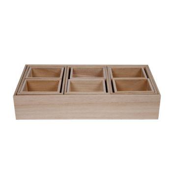 Cosy & Trendy Boites De Tri Set10 Bois Pln 30x15xh6cm