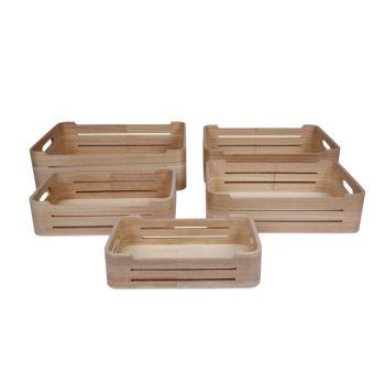 Cosy & Trendy Boites De Rangem.set5 Bois Pln 36x26x10c