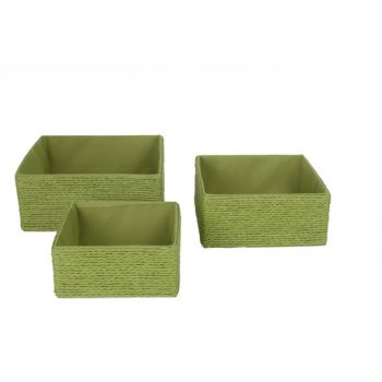 Cosy @ Home Summer Green Paniers Set3 Carre