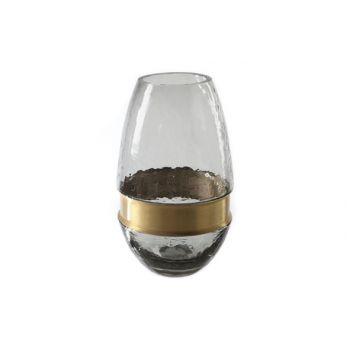 Cosy @ Home Vase Gris Ovale Verre 13x13xh22