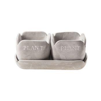 Cosy @ Home Pot Coupe Duo Gris Rectangle Ceramique 2