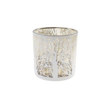 Cosy @ Home Bougeoir Blanc Rond Verre 15x15xh15 Bran